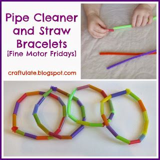 Craftulate: Pipe Cleaner and Straw Bracelets [Fine Motor Fridays]