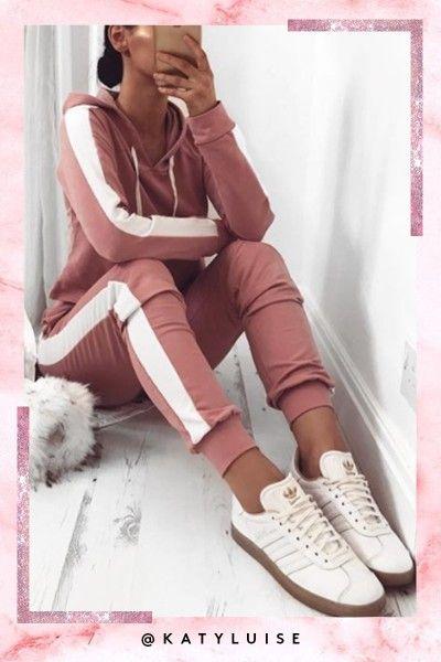 Jessica Pink Side Stripe Cropped Loungewear Set