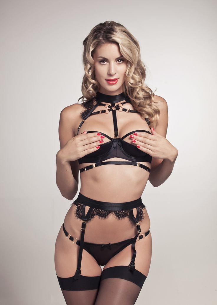 Naughty erotic garter belt thong heels