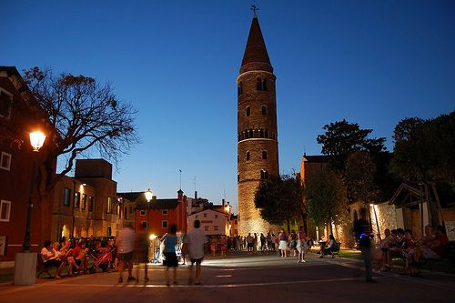 Night Caorle - A view of the dominant church from the sea side