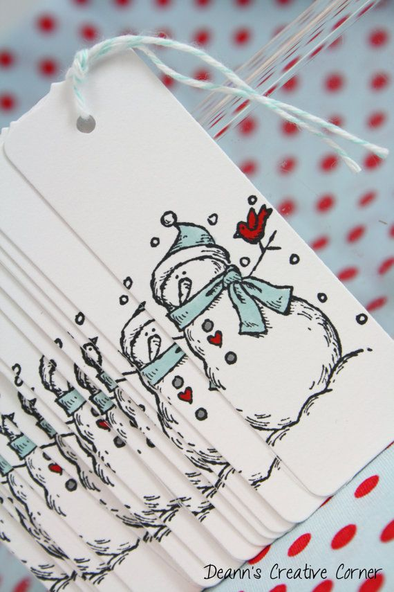Christmas tag set  20 Watercolored tags   by DeannsCreativeCorner, $7.50 Snowman gift tag