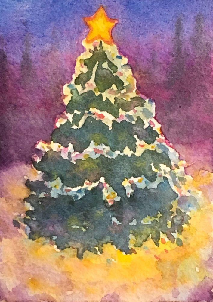 Original Watercolor Snowy Christmas Tree Winter Landscape Painting