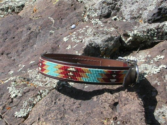 Beaded dog collar by LeathernBeads on Etsy, $40.00 - Or maybe this one for Klaus...