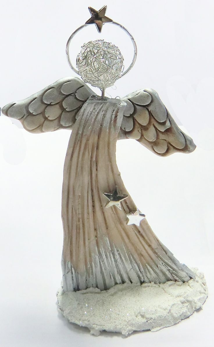 Angel with airdrying clay for Pinterest weihnachtsbasteln