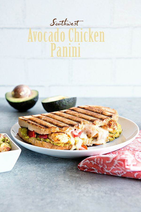 Amp up your normally boring sandwich night with this Southwest Avocado Chicken Panini sandwich recipe featuring California Avocados.