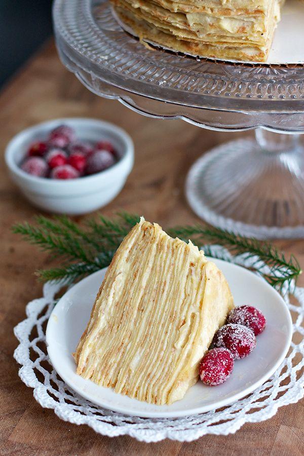 Sugared cranberry crepe cake