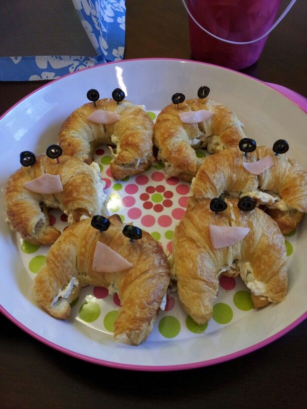 Crabwiches! Chicken salad on croissants with olives and sliced turkey for the faces. Fun beach themed party food!