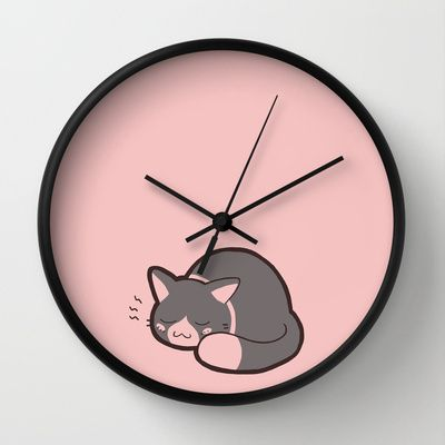 387 best cat clock images on pinterest cat clock wall - Kitty cat clock ...