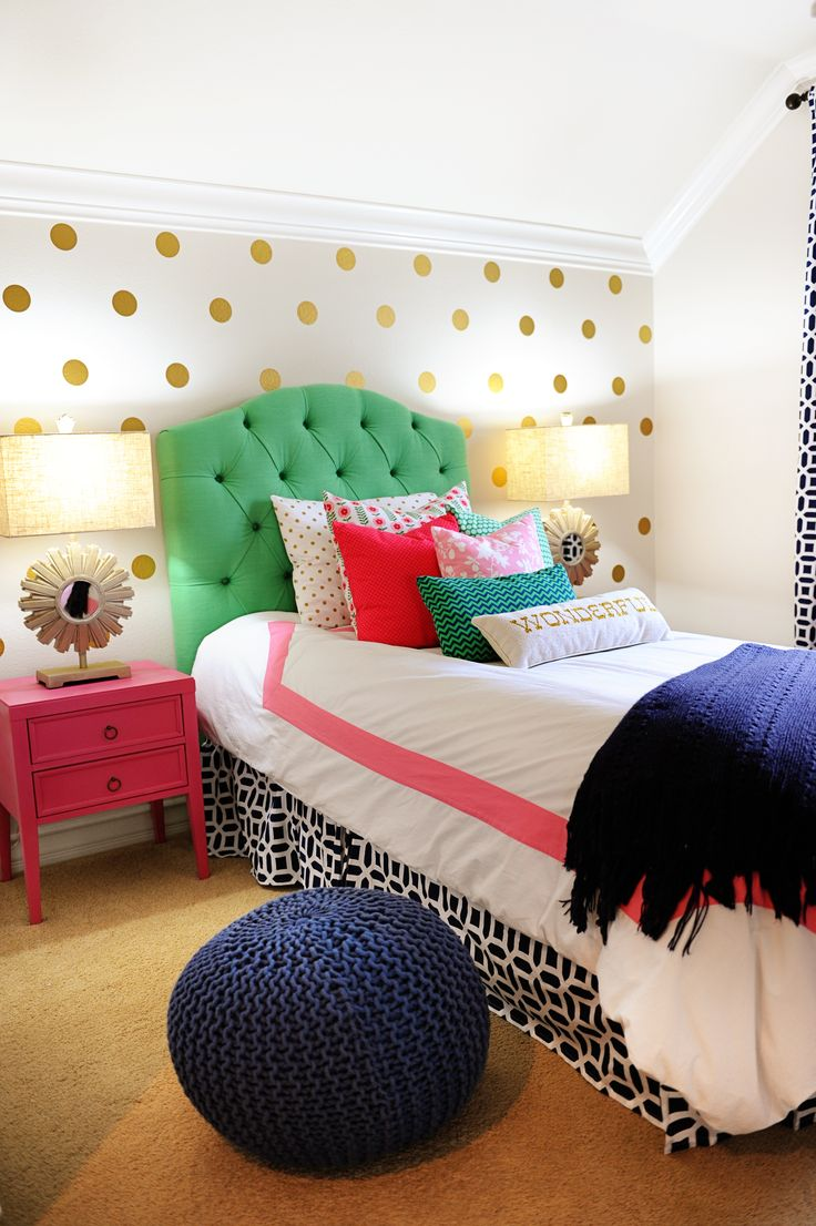 adorable bedroom with fun colors and patterns