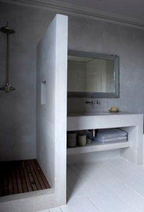 Les 25 meilleures id es concernant salle de bains compl te for Beton cire sur mur salle de bain