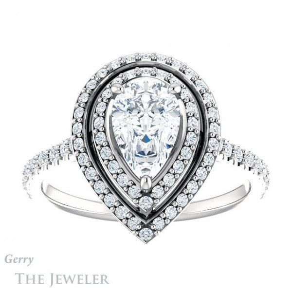 Pear Shape FB Moissanite in Double Halo Ring Setting