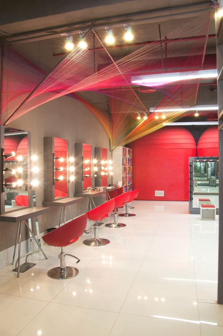 Salon Interior Red And Grey Love The String Art