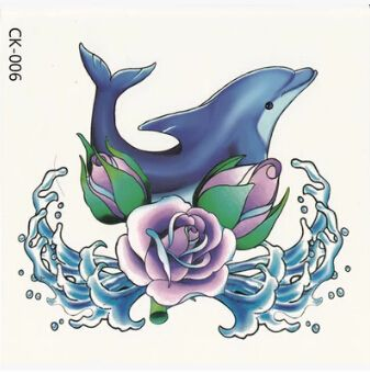 1pcs Blue Purple 3D Dolphin Rose Wave Tattoos Big Large Waterproof temporary tattoo Sticker For Women Kids Body Art Concealer(China (Mainland))