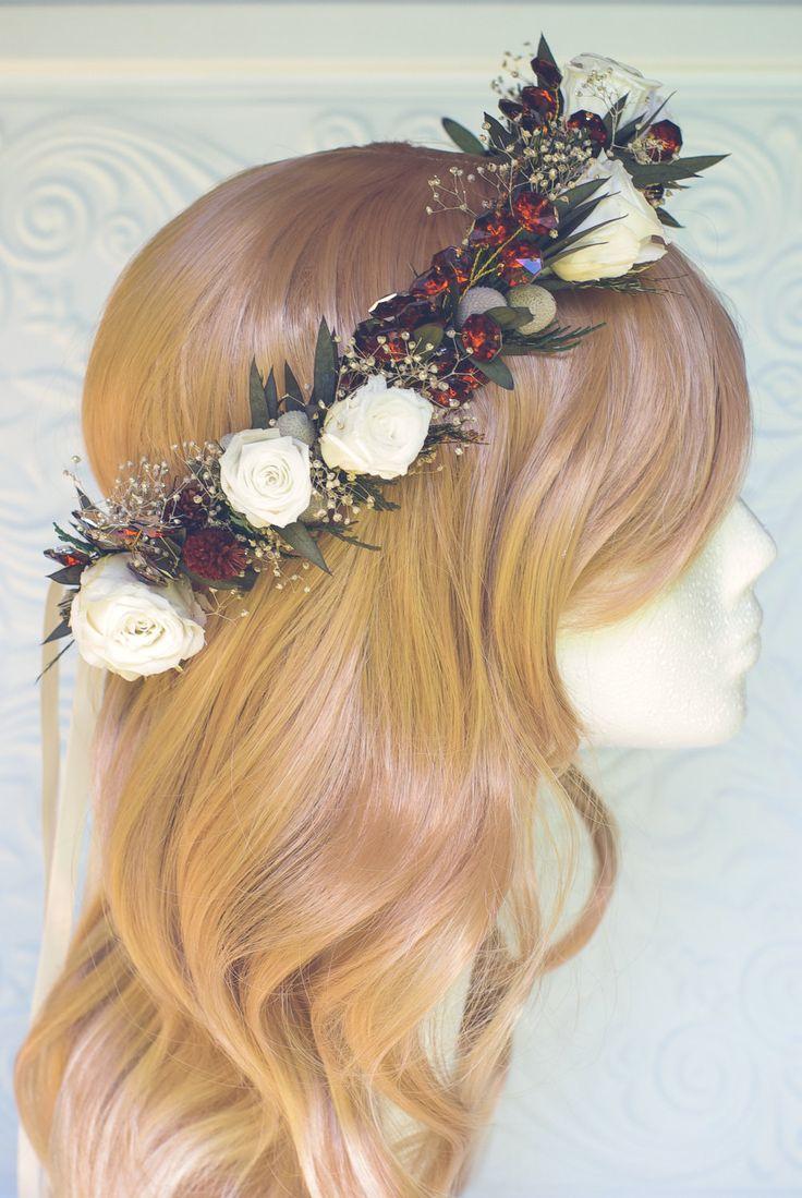 Winter flower crown, jewel hair accessories, flower halo, dried flower wreath…