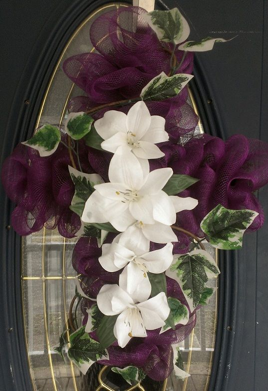 Deco Mesh Cross Wreath- Memorialize loved ones or use to decorate for Christmas or Easter