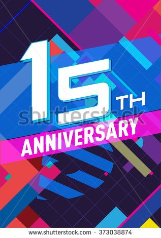 15 anniversary - abstract background with graphic art elements
