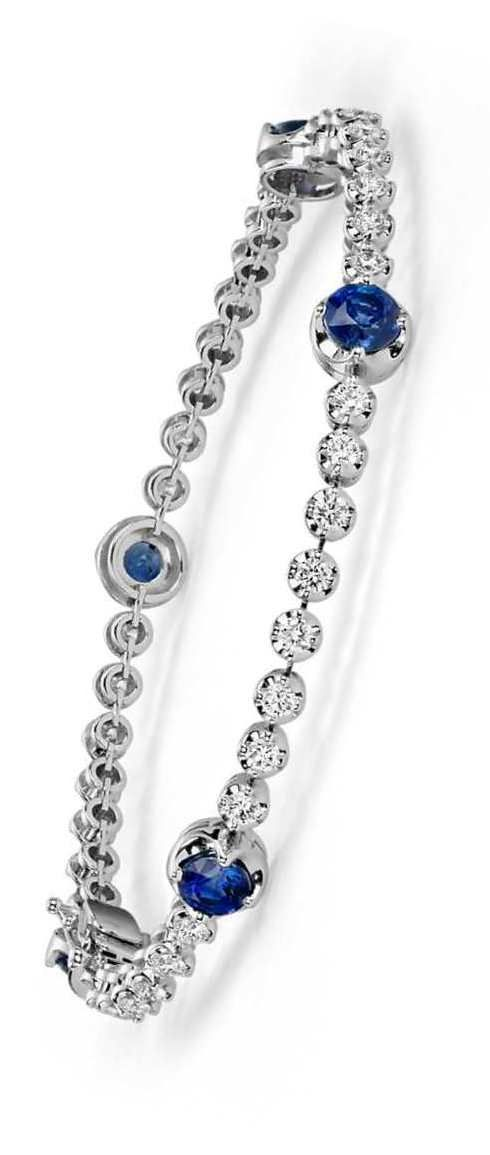 Round Blue Sapphire and Diamond Bracelet in 18k White Gold | Christmas List
