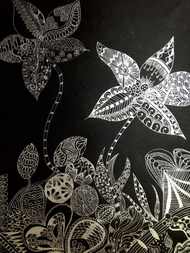Silver ink on black sketch paper zentangle