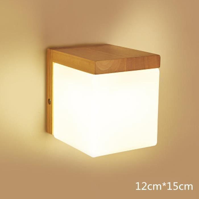 Mur Creatif Eclairage Simple Lumiere Chaude Lampe De Mur En Bois