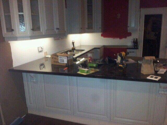 Kitchen lights installed under cabinets
