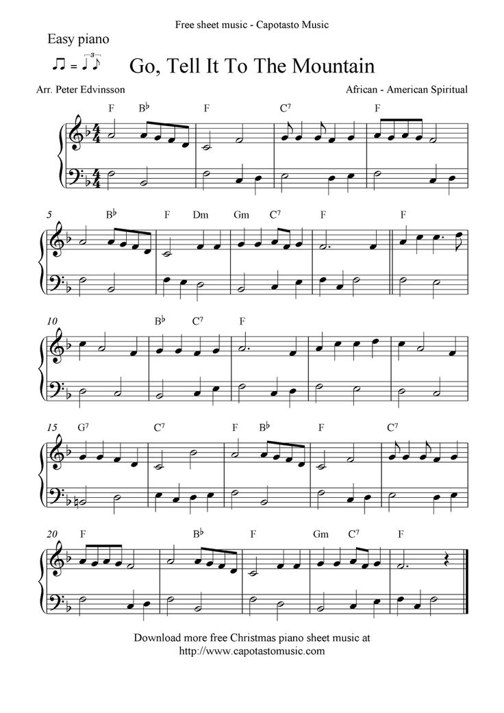 Free Printable Piano Sheet Music | Free Sheet Music Scores: Easy free Christmas piano sheet music notes ...