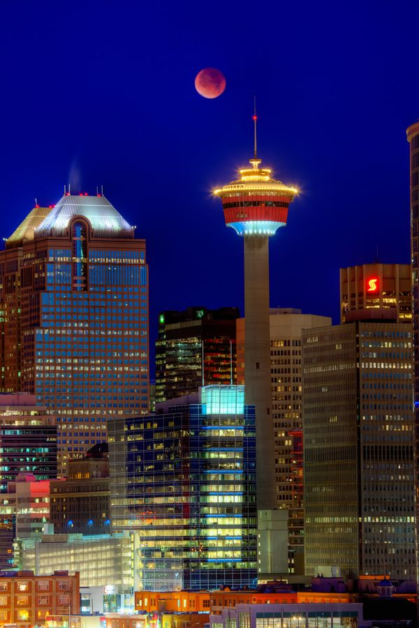 Tower, Bankers, Blood moon, Calgary - by David Buhler