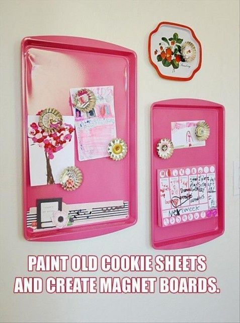 Paint old cookie sheets for magnet boards!Kitchens, Cookies Sheet, Crafts Ideas, Chalkboards Painting, Magnets Boards, Cute Ideas, Kids Room, Cool Ideas, Diy