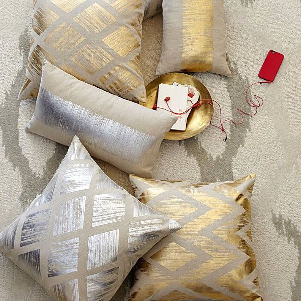 Beautiful Fabric Patten In Pillows Design : Fascinating View From Metallic Diamond Pillow Covers From West Elm As Cozy Living Room