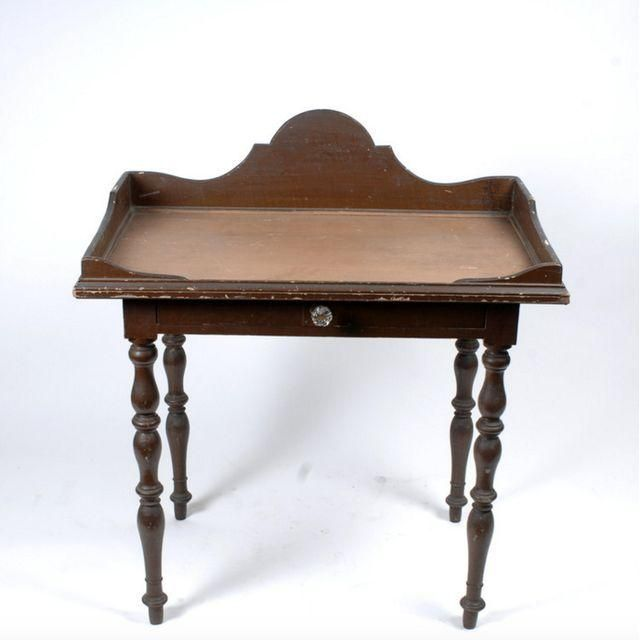 antique french desk with drawer and turned legs