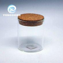 200 мл круглый стекло хранения банку с деревянной пробки, чай стеклянная банка с пробкой