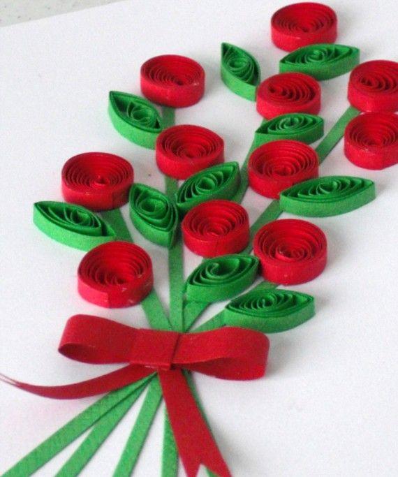Carta di San Valentino con i fiori quilling messaggio