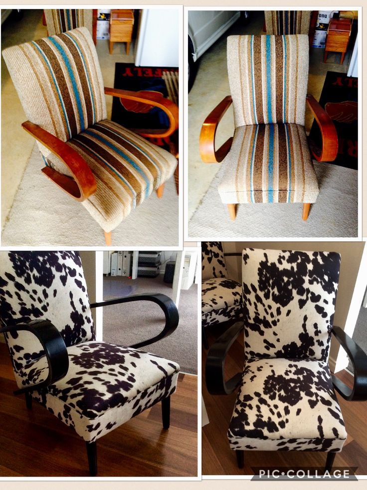 Retro chairs reupholstered in Warwick cowgrain fabric !