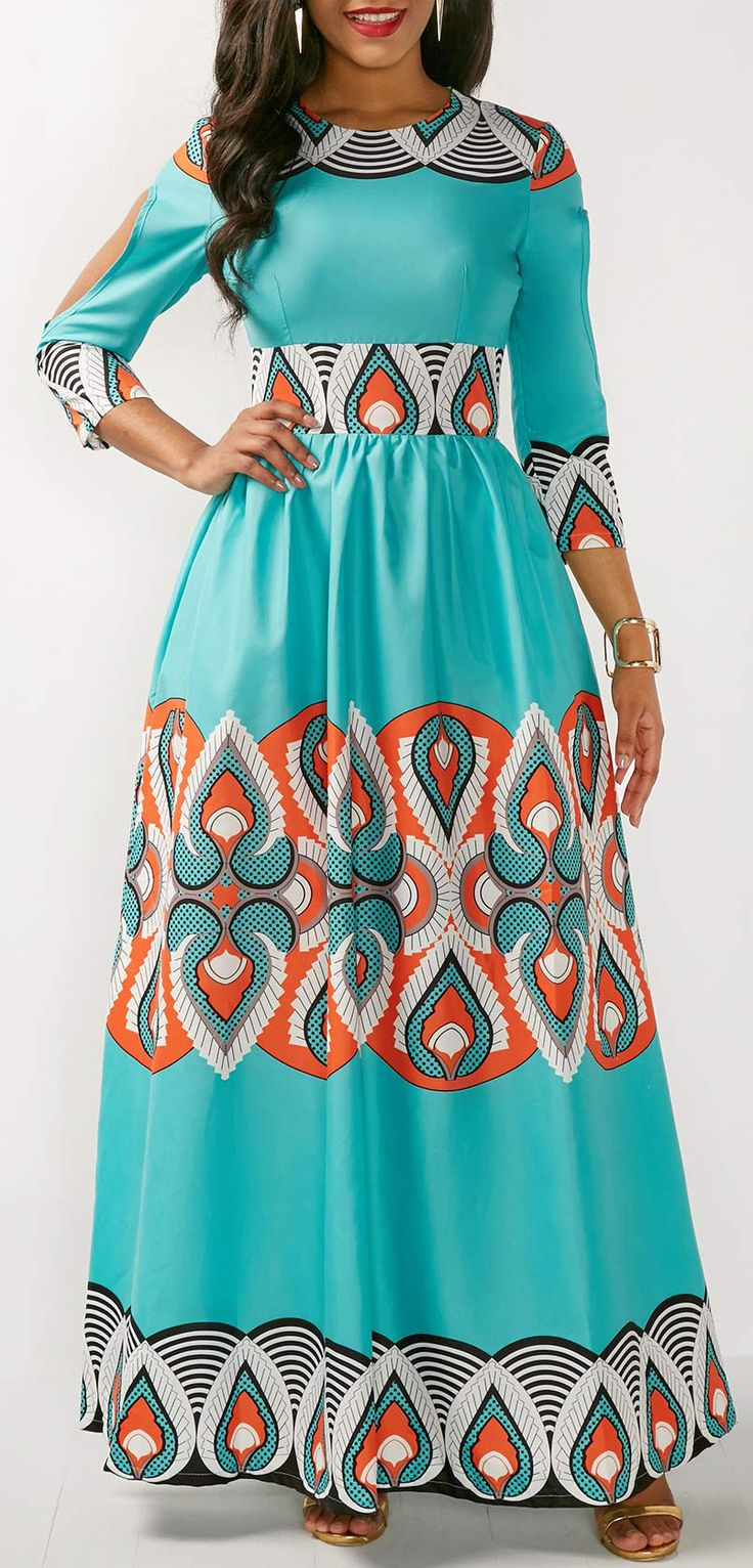 Three Quarter Sleeve Printed Maxi Dress.