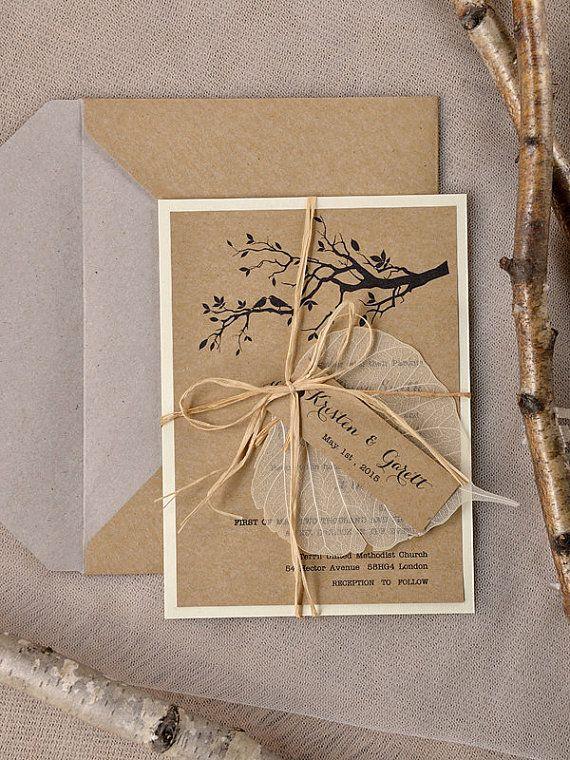 Custom listado de invitación de boda rústica (20), papel reciclado, árbol de invitación de boda, invitación de la boda de jardín, los pájaros en invitación de amor
