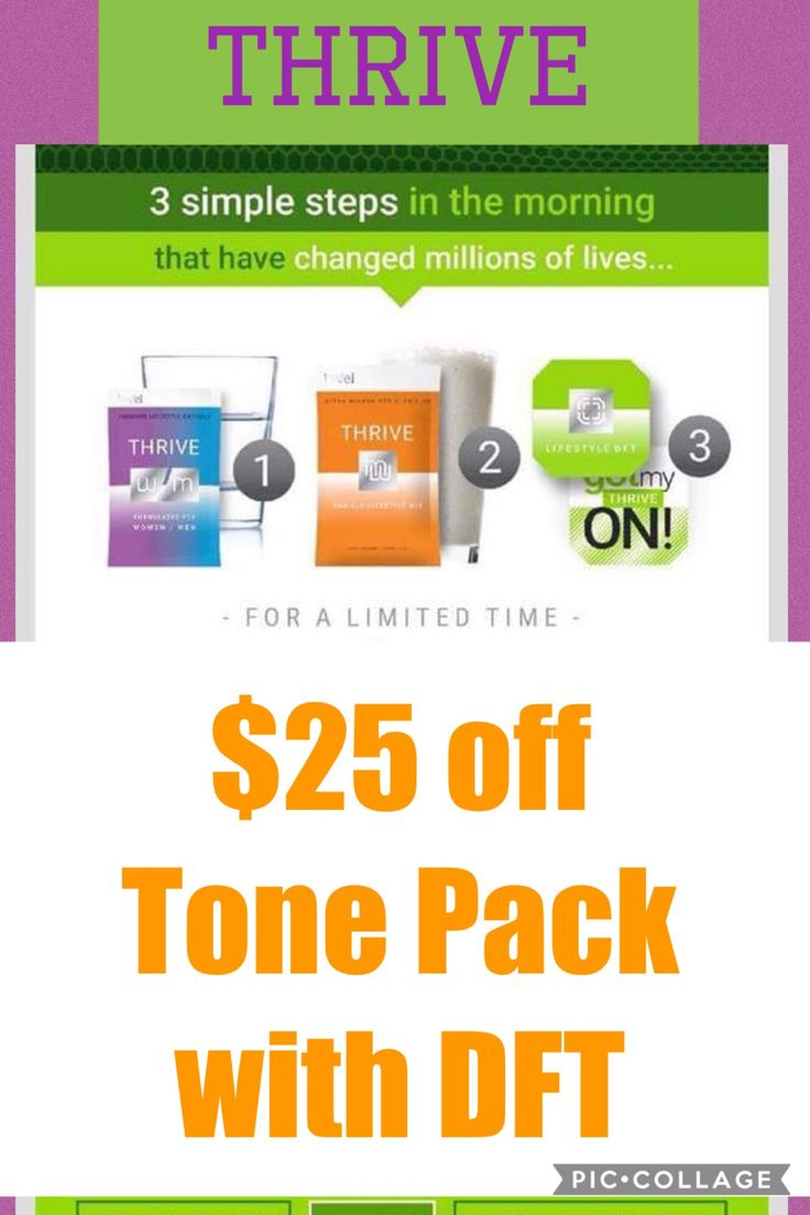 $25 off THRIVE TONE PACK WITH DFT!  Thrivenstella.Le-Vel.com Facebook: Thriving with Stella Email: zunigast@gmail.com