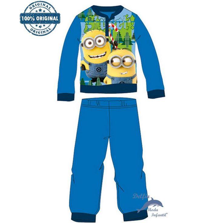 Pijama micropolar MINIONS azulon con dos muñecos