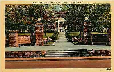 Anderson South Carolina SC 1940 Entrance Anderson College Vintage Linen Postcard