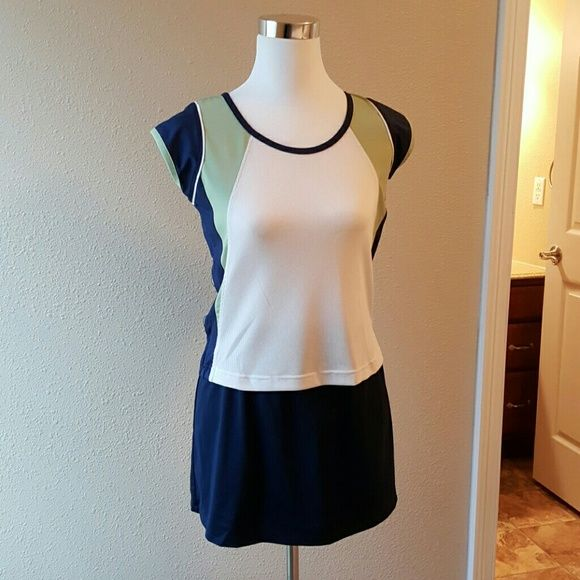 Tennis outfit w/additional skort Bolle Blue, Green and White Tennis outfit. One tee and two skorts Bolle Other
