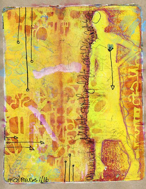 Gelli Print -Empress Dragon Arts: art journal, BeePaper Recycled Rough Sketch, Gelli Arts, gelli plate, gelli print, inktense, mixed-media, monoprint, neocolor II, practice, stencil, woman