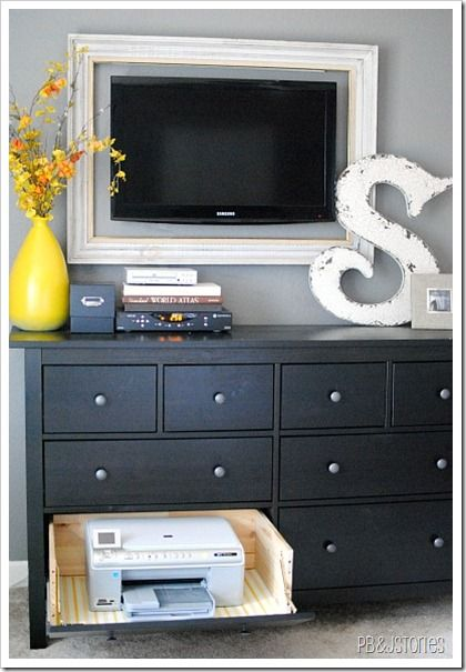 pbj stories -- use a dresser as a console table with a hideaway printer! #genius