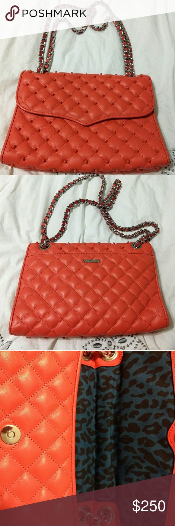 Rebecca Minkoff Affair Quilted Studded Bag Brand new, never used. Beautiful salmon soft leather envelope bag with matching studs. Chain and leather strap is long enough to be carried as a crossbody or on shoulder. Rebecca Minkoff Bags Shoulder Bags