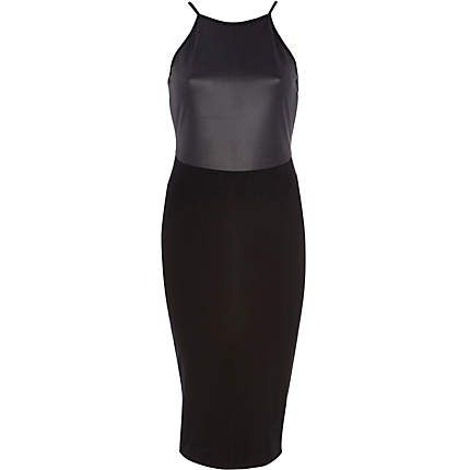 Black leather-look panel racer front dress �38.00