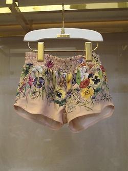 vintage rose flora infinity degradè print silk short - Gucci Kids