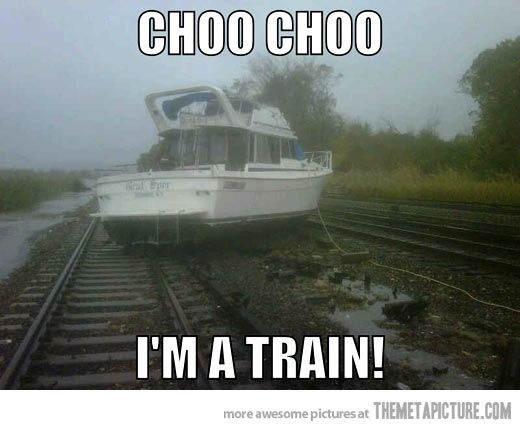 boat on train tracks in Ossinging NY Hurricane Sandy-Ravaged Neighborhoods