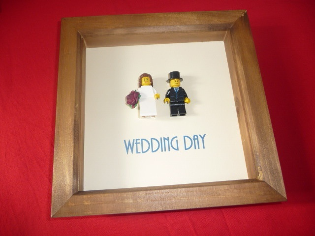 LEGO BRIDE AND GROOM - Cake and then frame after :)