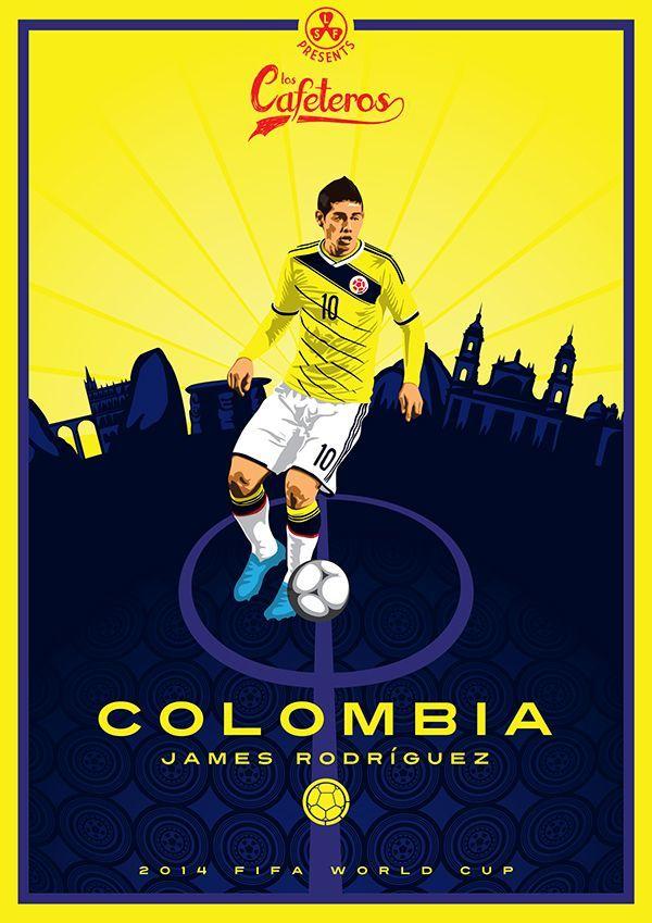 Afiche de la Selección de Fútbol de Colombia - James Rodríguez - Brasil 2014