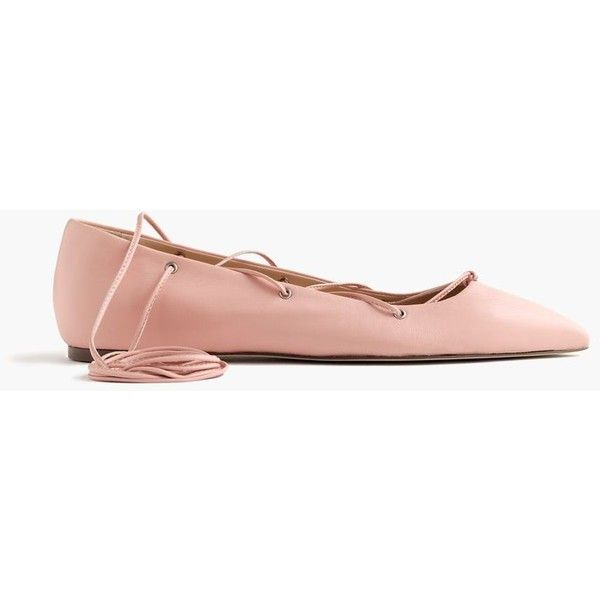 J.Crew Leather Lace-Up Ballet Flats ($210) ❤ liked on Polyvore featuring shoes, flats, ballerina flat shoes, skimmer flats, ballet pumps, ballerina flats и ballet shoes
