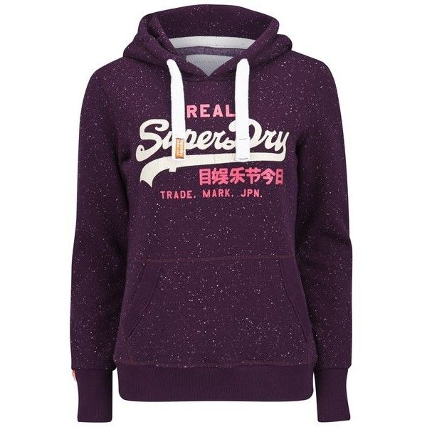 Superdry Women's Vintage Logo Duo Nep Hoody - Aubergine ($78) ❤ liked on  Polyvore