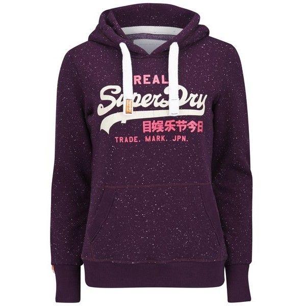 Superdry Women's Vintage Logo Duo Nep Hoody - Aubergine (€48) ❤ liked on Polyvore featuring tops, hoodies, sweaters, multi, sweatshirts hoodies, vintage pullover, vintage hooded sweatshirt, pullover hoodies and purple hoodie