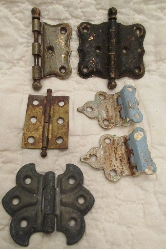 Antique Hinges Lot of 6 assorted metal cabinet by rarefinds4u $13.50
